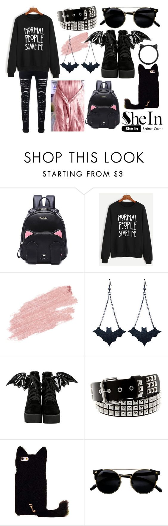 """""""Contest: Black Sewatshirt"""" by rebecca-miller-4 ❤ liked on Polyvore featuring Jane Iredale, Chicnova Fashion, Iron Fist and Kate Spade"""