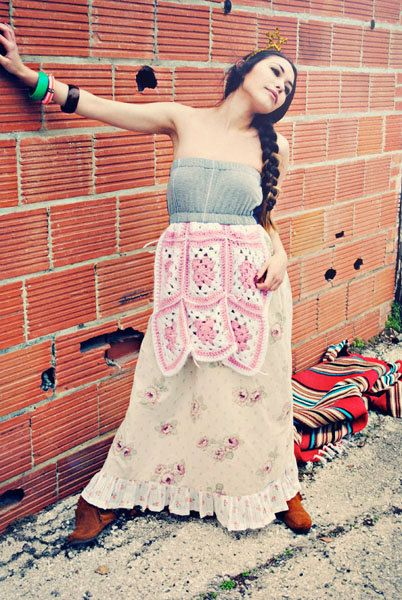 Poor Pitiful Pearl Floral Maxi Boho Hippie Flower Child Long Tube Dress With Crochet Apron on Etsy, $65.00