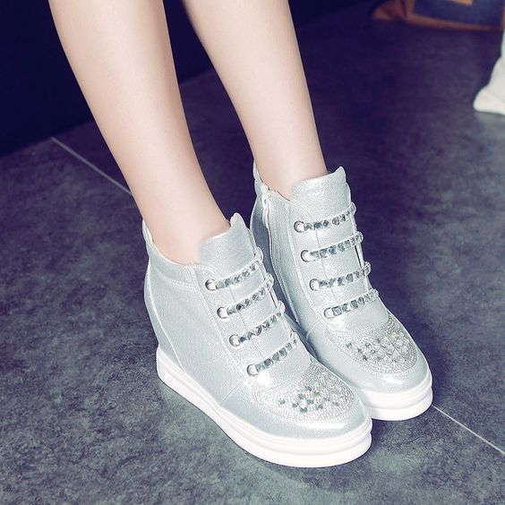 Increase In Diamond Round Anti-Skid Side Zipper Leisure Low Deep Mouth Shoes