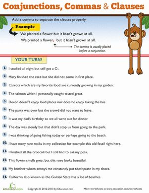 Commas for Kids | Worksheets, Third Grade and Punctuation