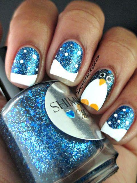 Fairly Charming: A Shimmery Penguin nail art... blye shimmer background nail polish