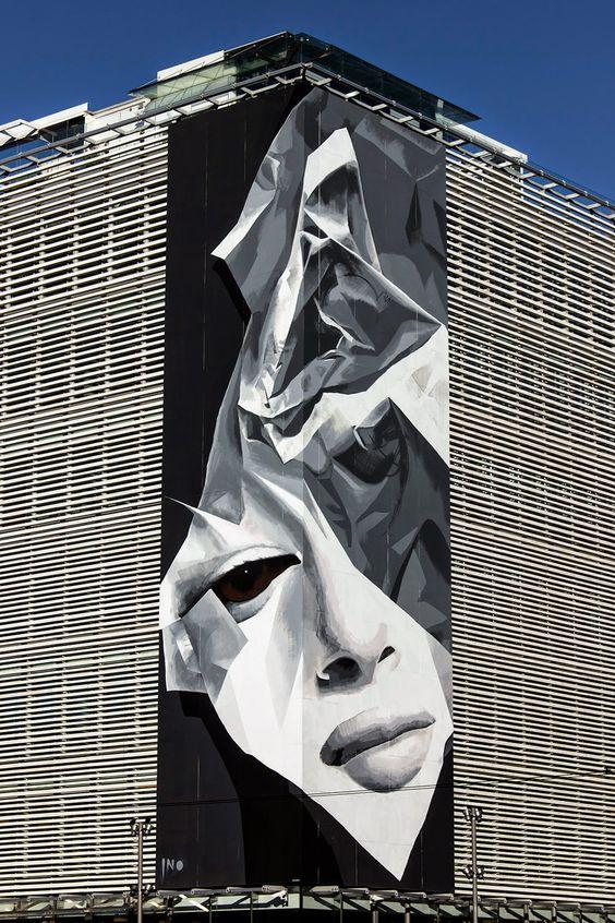 "iNO ""Creasing"" New Mural - Athens, Greece"