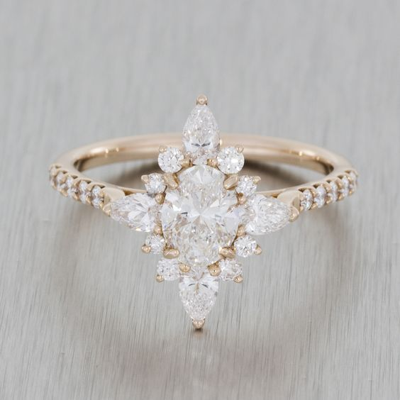 rose gold vintage ballerina engagement ring marquise oval