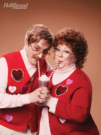 """Melissa McCarthy and Ben Falcone's Valentine's Day Photo Shoot: """"He's funnier and smarter; I'm just loud,"""" McCarthy declares, while Falcone retorts: """"No way. I'm the boring structure guy. She's the fun one."""""""