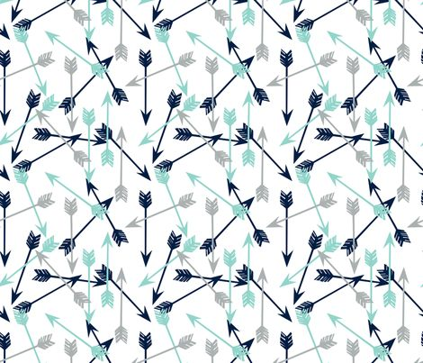 Arrows navy mint grey boy nursery kids fabric by andrea for Grey childrens fabric