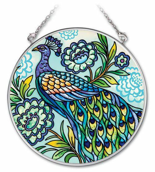 "Decorative Peacock Sun Catcher AMIA Blue Hand Painted Glass 4.5/"" Round Bird New"
