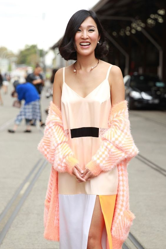 Pin for Later: Over 50 Must-See Street Snaps From Sydney Fashion Week Street Style at Sydney Fashion Week Nicole Warne brought the pastels on her sherbet-hued slip dress.