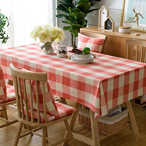 Pink White Square Cotton And Linen Rectangular Tablecloth Thick Wear Resistant Durable Tablecloth Decorative Cloth A 135x13 Modern Table Table Cloth Table Mats