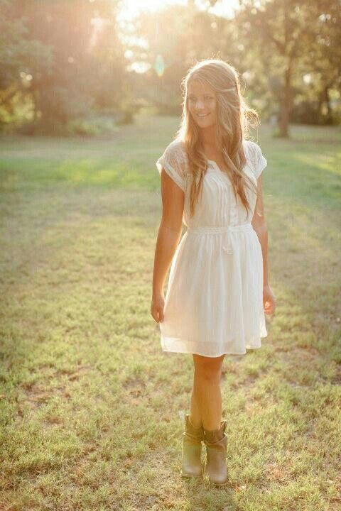 Simple white dress with lace sleeves (American Eagle) and country ...