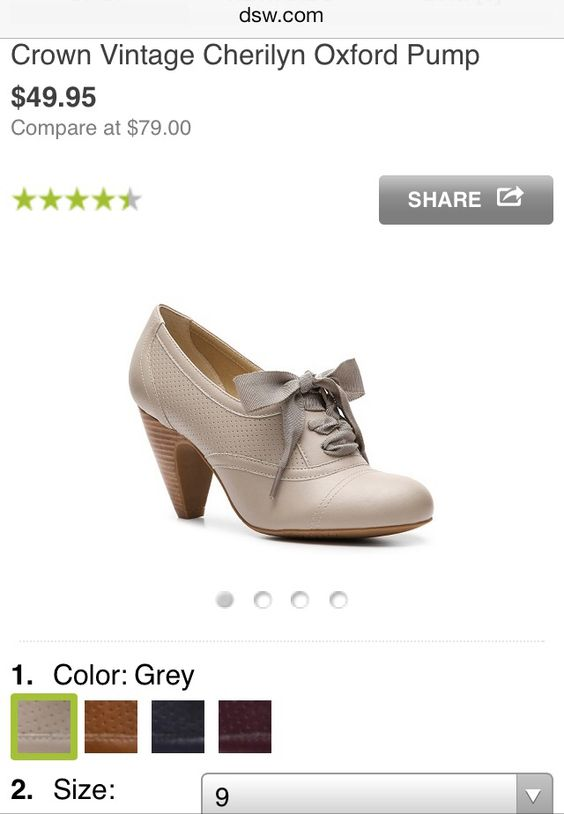 Nude Oxford Heels, size 9.  So cute for work!!  Want!