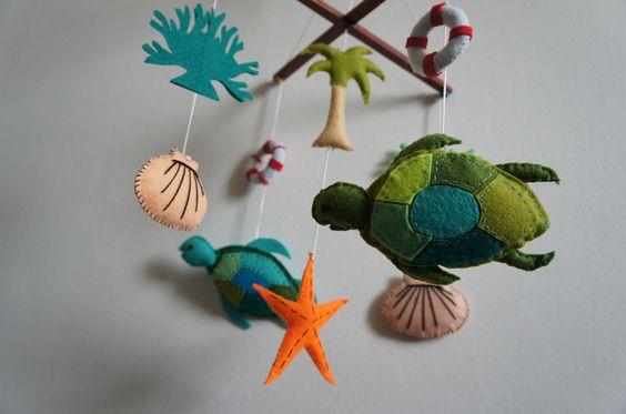 mobile b b oc an tortue coquillage bou e cocotier algue et toile de mer mobiles b b et. Black Bedroom Furniture Sets. Home Design Ideas