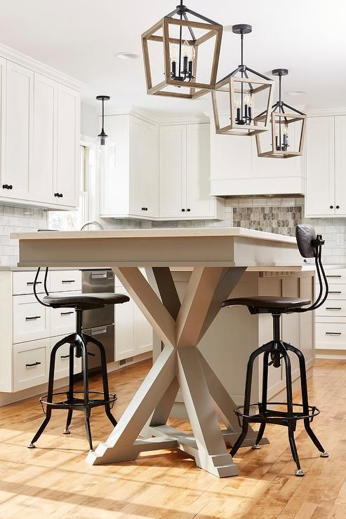 Industrial Barstools Sit At A Pub Height Dining Table Fixed Beside A Gray Kitchen Island And Beneath I Grey Dining Tables Grey Kitchen Island Wood Dining Bench