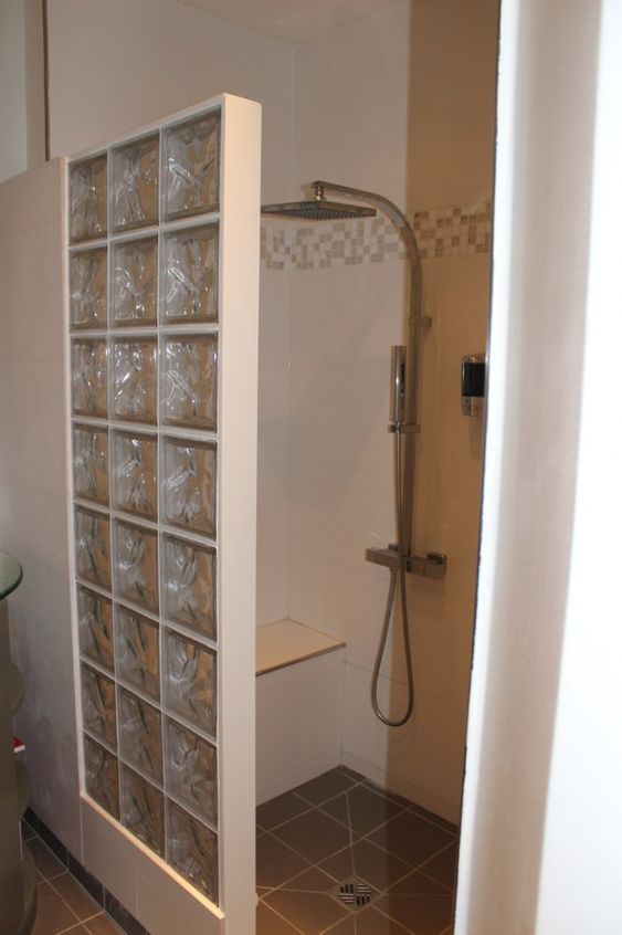 Glassblock Bathroom Shower Designs Shower Stall With Glass Block Wall Bathroom Ideas