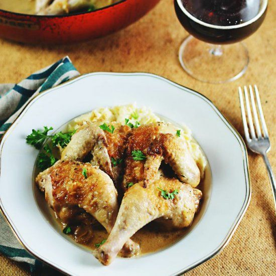 Drunken Cornish Game Hens. Juicy Cornish hens braised in Belgian beer, garlic and shallots. Perfect for fall!
