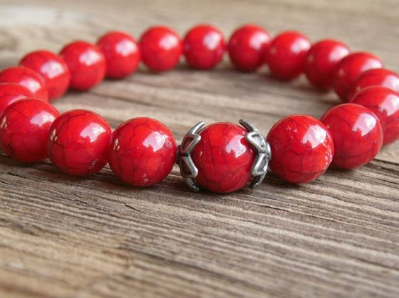 Check out this item in my Etsy shop https://www.etsy.com/listing/230012535/red-marble-beaded-stackable-bracelet