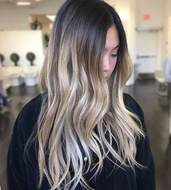 Color melt ombre bright blonde on naturally dark hair. Brown and blonde hair. Hair by @colorbymichael