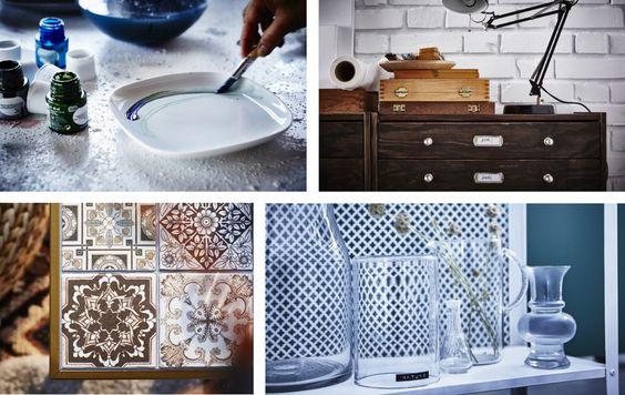 Assiettes IKEA FÄRGRIK décorées de différents motifs.