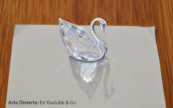 Cómo dibujar un cisne de cristal Swarovski - Sorprendente dibujo en 3D -...