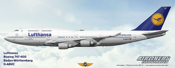 "Lufthansa ""Baden-Württemberg"" Boeing 747-430 D-ABVC.Airliners Illustrated® by Nick Knapp©."