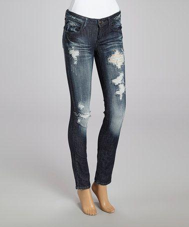 Machine Jeans Inc. Dark Blue Distressed Skinny Jeans   Women's ...
