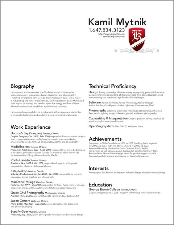 Graphic Design Resume Examples -    wwwresumecareerinfo - font for a resume