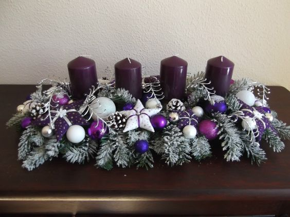Tischgesteck Advent Weihnachtsgesteck Adventskranz Lila
