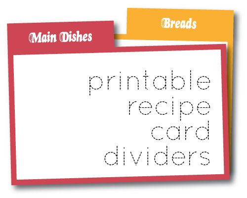 Wild Olive print recipe card dividers - Recipe Box for words - index card template