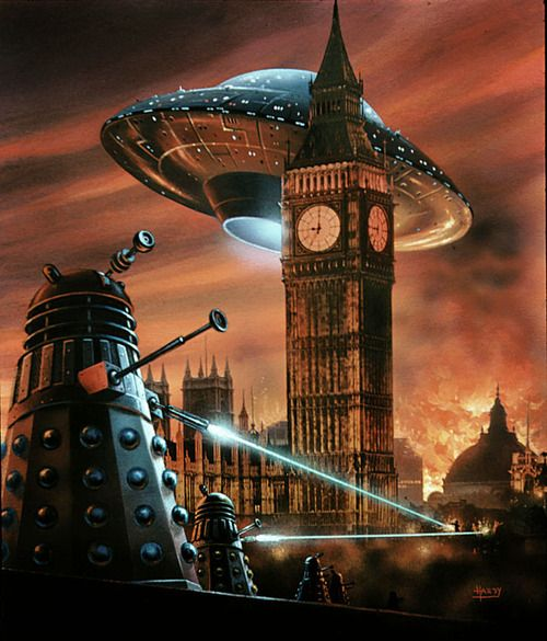 Spectacular cover of the German edition of Doctor Who: Dalek Invasion of Earth novel. Painted in 1975 by David Hardy.
