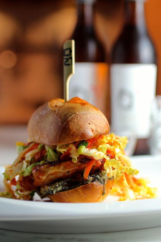 "Griddled Gochujang Chicken Sandwich, ""Kimchi"" Slaw, Seaweed Mayo @Lori Bearden Bearden Lynn Hirsch Stokoe"