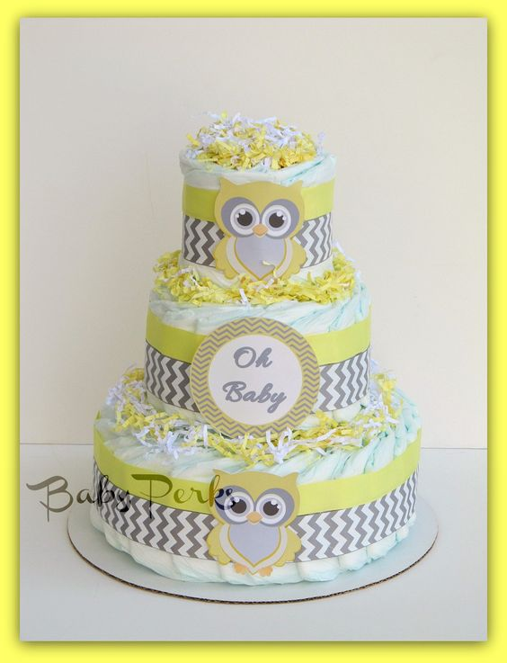 Grey, Owl diaper cakes and Baby things on Pinterest