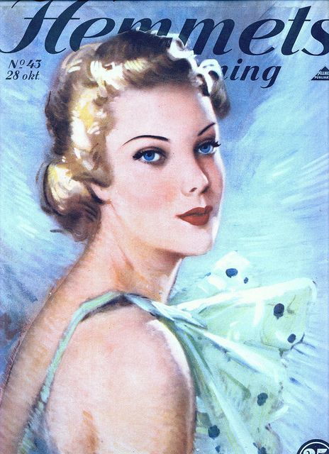 Wonderfully elegant cover on this 1930s Swedish magazine cover (don't you just love how piercing her blue eyes are?). #vintage #fashion #1930s #magazine #Sweden #Swedish