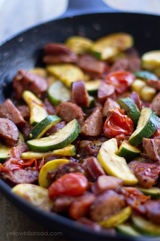 Smoked Sausage and Zucchini Skillet