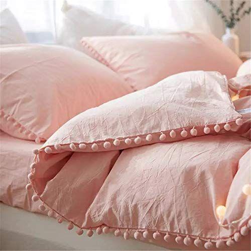 Iasteria Duvet Cover Queen 100 Washed Microfiber 3pcs Bedding Duvet Cover Set Pom Poms Fringe Solid C Pink Comforter Light Pink Comforter Pink Comforter Sets