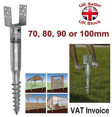 Fence Post Spike Support Ground Screw Holder Anchor Square 70 80 90 100 Mm Ebay Fence Post Fence Post Repair Wood Fence Post