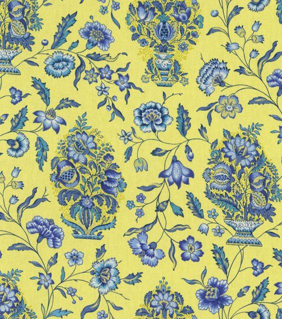 Home Decor Print Fabric-Pkaufmann Eugene BluebellHome Decor Print Fabric-Pkaufmann Eugene Bluebell,
