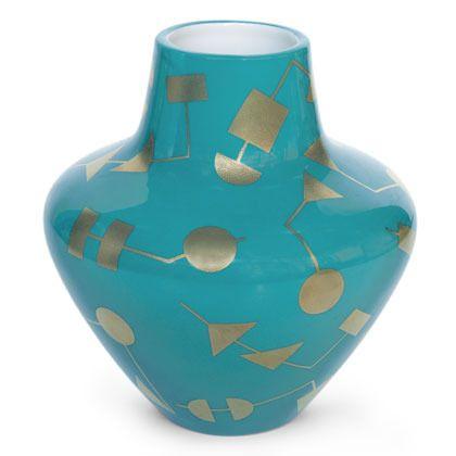 Porcelain glazed vase with gold accents