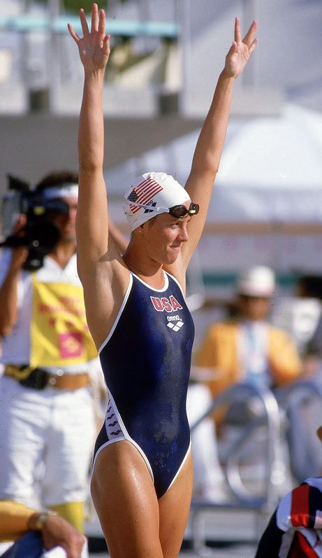 Tracy Caulkins -  Considered to be one of the greatest swimmers of all time. Throughout her career she set records in all four competitive strokes, won an Olympic gold medal, set five world records and 63 U.S. records.     http://sportsillustrated.cnn.com/multimedia/photo_gallery/0807/all.time.greatest.summer.olympians/content.5.html