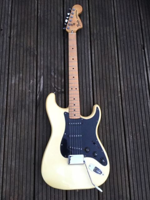 An 1977 Fender Stratocaster In Faded Cream White Very Versatile Instrument And A Joy To Play Defo Fender Stratocaster Acoustic Electric Guitar Fender