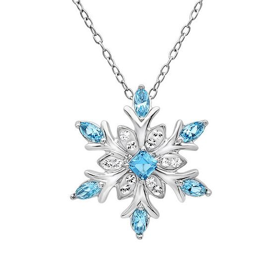sterling silver blue and white snowflake pendant