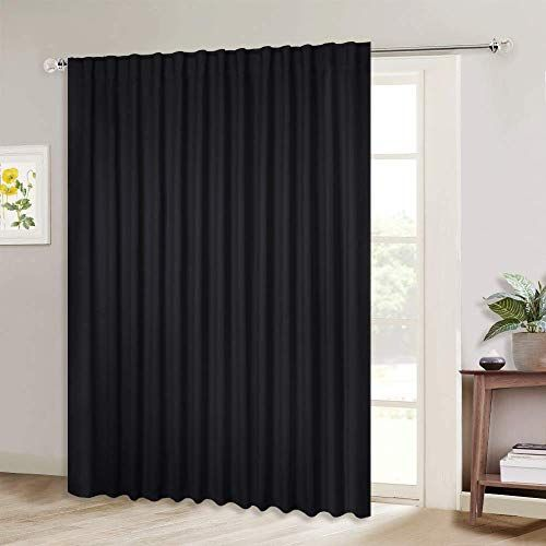 New Nicetown Black Out Blinds Sliding Doors Extra Wide Energy Save Patio Glass Door Drape Room Divider Curtain Black 100 Inches Width X 95 Inches Length So In 2020 Curtains Sliding