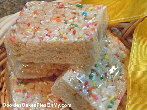 rice krispie treats | Cake Mix Rice Krispie Treats | CookiesCakesPiesOhMy