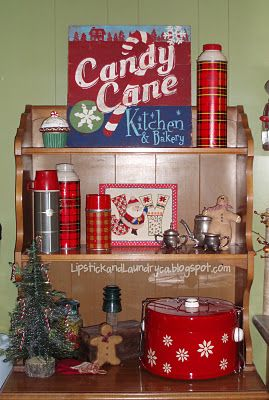 Vintage Thermos' Christmas hutch...