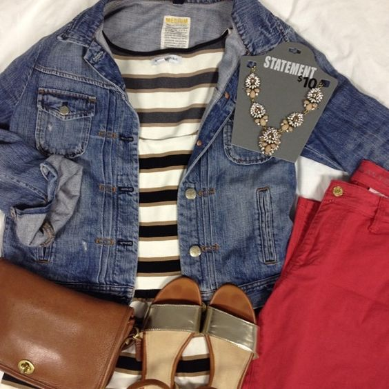 Stripes, colored jeans, Walmart $10 statement necklace