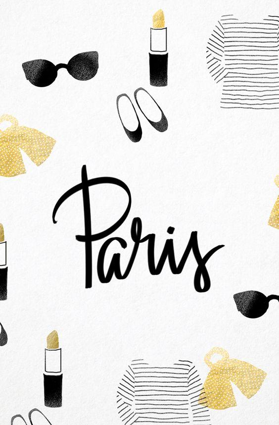 Black white gold Paris Fashion stripes iphone phone wallpaper ...
