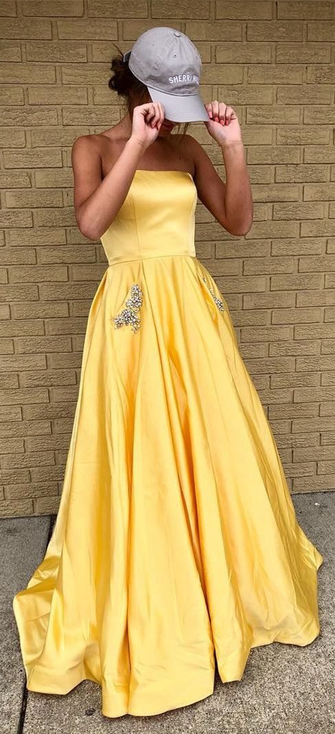 Princess Strapless Navy Blue Long Prom Dress With Pockets Prom Dresses Yellow A Line Prom Dresses Strapless Party Dress
