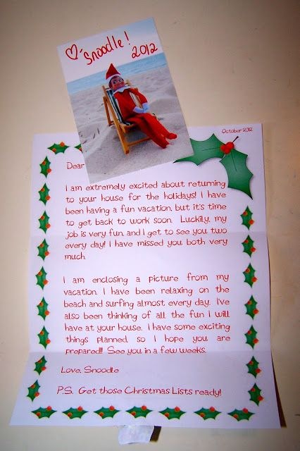 Elf On The Shelf Vacation Letter