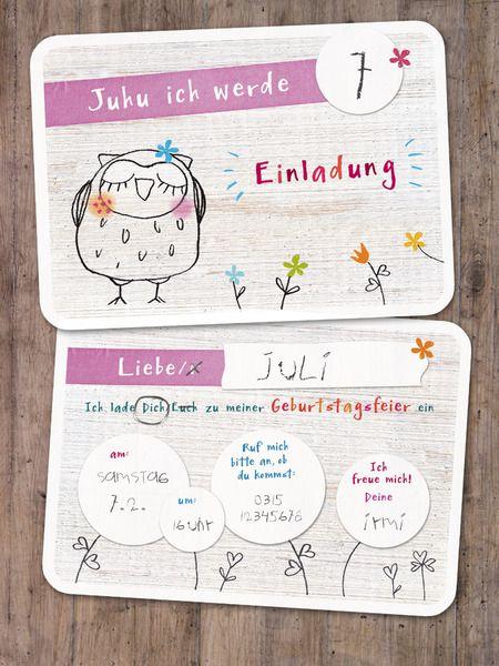 """Einladungskarten Kindergeburtstag """"Eule"""" rosa von lina-art - 5er Kartenset zum Beschriften"""