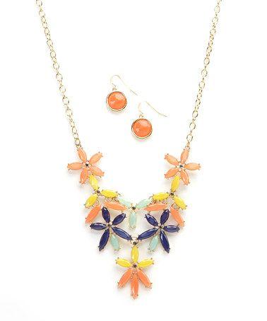Blue & Coral Floral Bib Necklace & Earring Set by Ethel & Myrtle #zulily #zulilyfinds