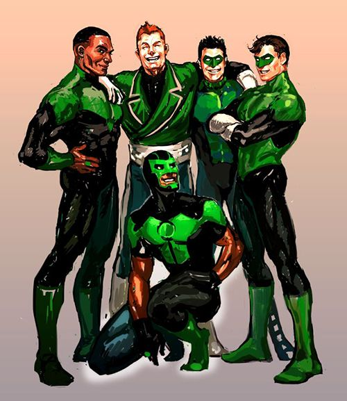 Green Lanterns of Earth :  John Stewart, Guy Gardner, Kyle Rainer, Hal Jordan And Simon Baz