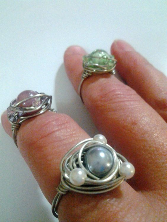 Genuine Crystal and Faux Pearl Wire Wrapped Rings by Artist Danielle Shelton @ facebook.com/deepsouldzine